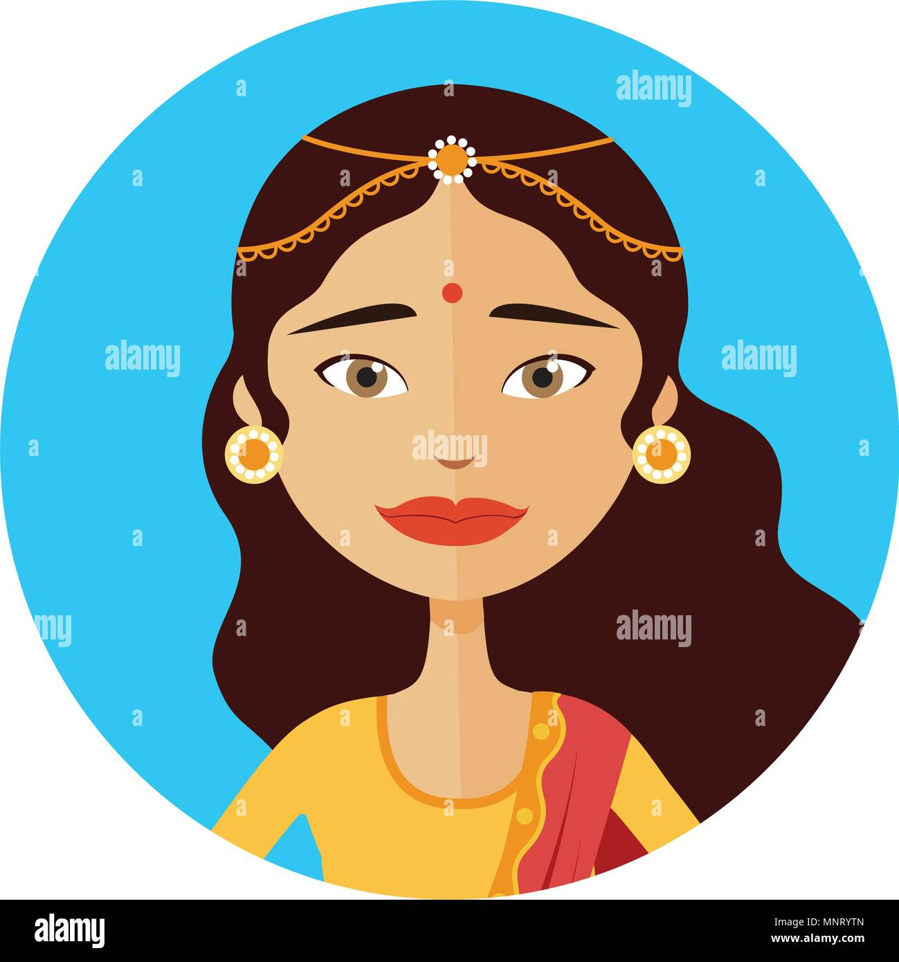 Indian woman avatar vector illustration isolated - Stock Vector