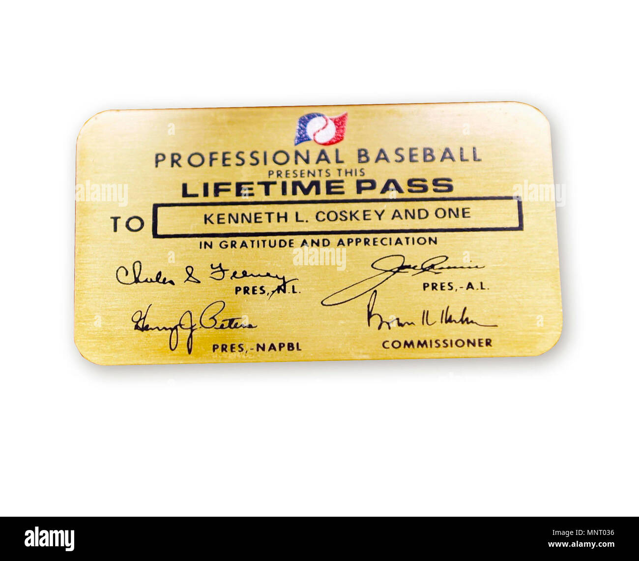 """Major League Baseball has occasionally given out its coveted Lifetime Pass, the """"Golden Ticket,"""" to veterans. On September 6, 1968, North Vietnamese shot down as A6A Intruder piloted by Navy Commander Kenneth Coskey. Held as a prisoner of war in North Vietnam, he was released on March 14, 1973. Major League Baseball presented him with this Lifetime Pass that would allow Coskey and a guest to attend any game for the rest of his life. Stock Photo"""