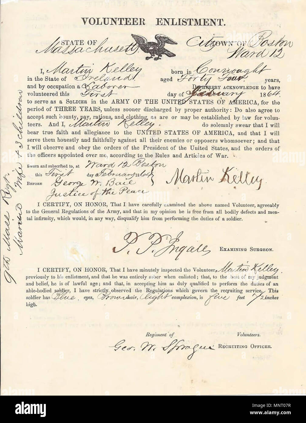 HANSCOM AIR FORCE BASE -- Civil War era enlistment papers shows the Martin Kelley of Ireland volunteered to serve in the 9th Massachusetts Infantry Regiment. In the war against slavery, at least 140,000 Irish immigrants and first generation Irish-Americans served in the military. Stock Photo