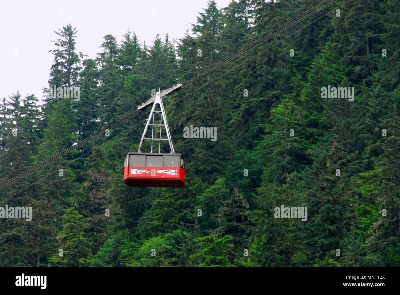 An aerial tram taking tourists to the top of beautiful Mount Roberts in Juneau, Alaska, USA - Stock Image