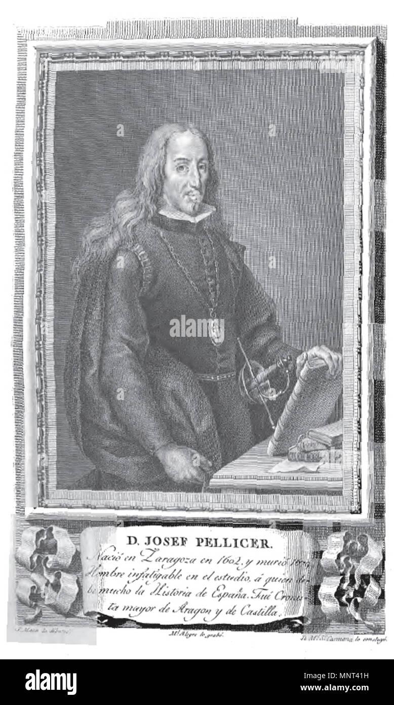 . Retrato de José Pellicer. 1791. Grabado de Manuel Alegre por dibujo José Maea 971 Josef Pellicer - Stock Image