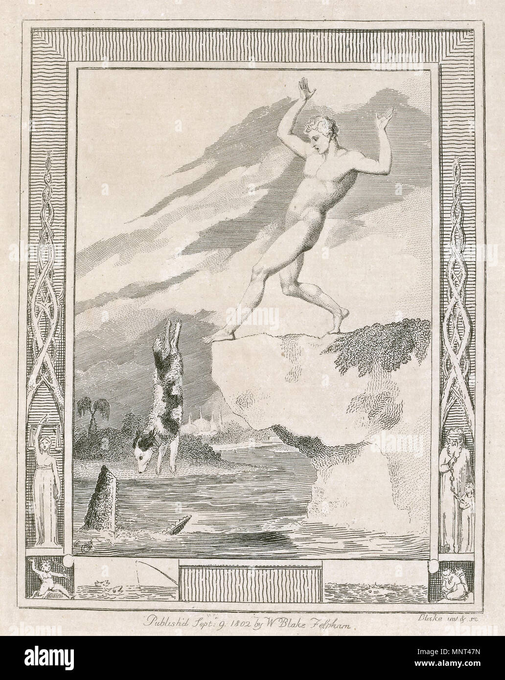 .  English: William Blake for Hayley, Designs to a Series of Ballads, copy 1, object 12 Frontispiece to The Dog, Ballad the Fourth . 1802.    William Blake (1757–1827)   Alternative names W. Blake; Uil'iam Bleik  Description British painter, poet,, writer, theologian, collector and engraver  Date of birth/death 28 November 1757 12 August 1827  Location of birth/death Broadwick Street Charing Cross  Work location London  Authority control  : Q41513 VIAF:54144439 ISNI:0000 0001 2096 135X ULAN:500012489 LCCN:n78095331 NLA:35019221 WorldCat 1263 William Blake for Hayley, Designs to a Ser - Stock Image