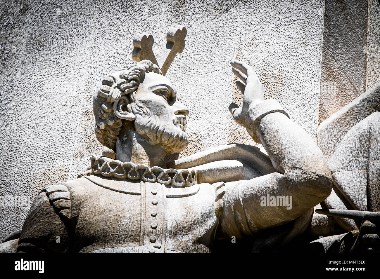 Lisbon, Portugal, May 5, 2018: Statue of Luis Vaz de Camoes, detail of the Monument to the Discoveries. - Stock Image