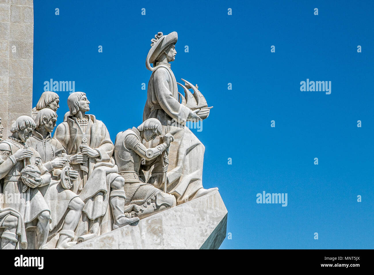 Lisbon, Portugal, May 5, 2018: Monument to the Discoveries, depicting Henry the Navigator and other prominent figures from Portugal's Age of Discovery - Stock Image