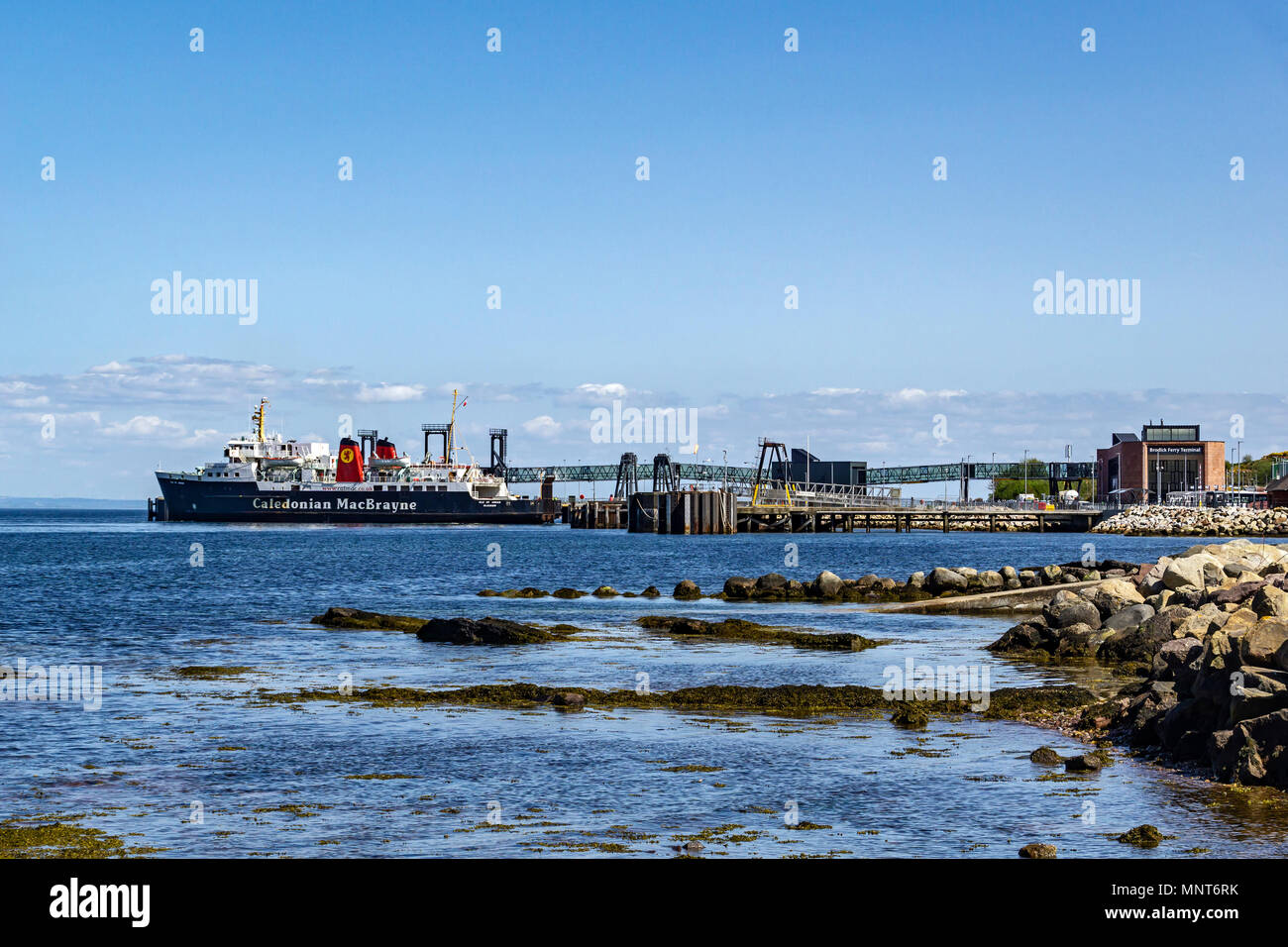 CalMac car and passenger ferry Isle of Arran at the new Caledonian MacBrayne ferry terminal in Brodick Isle of Arran Scotland UK - Stock Image