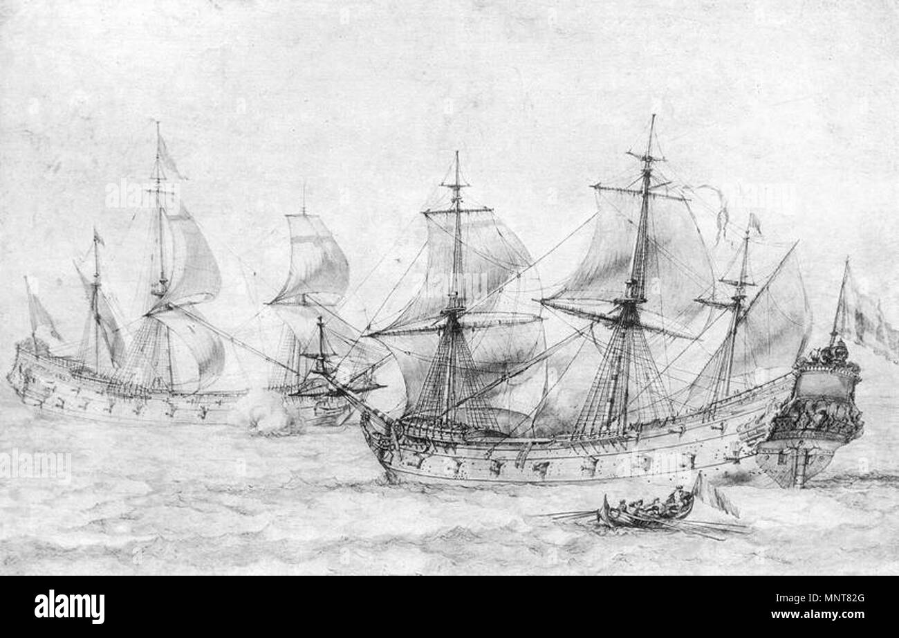 Two Vessels under Sail   circa 1674.   988 Pierre Puget - Two Vessels under Sail - WGA18477 - Stock Image