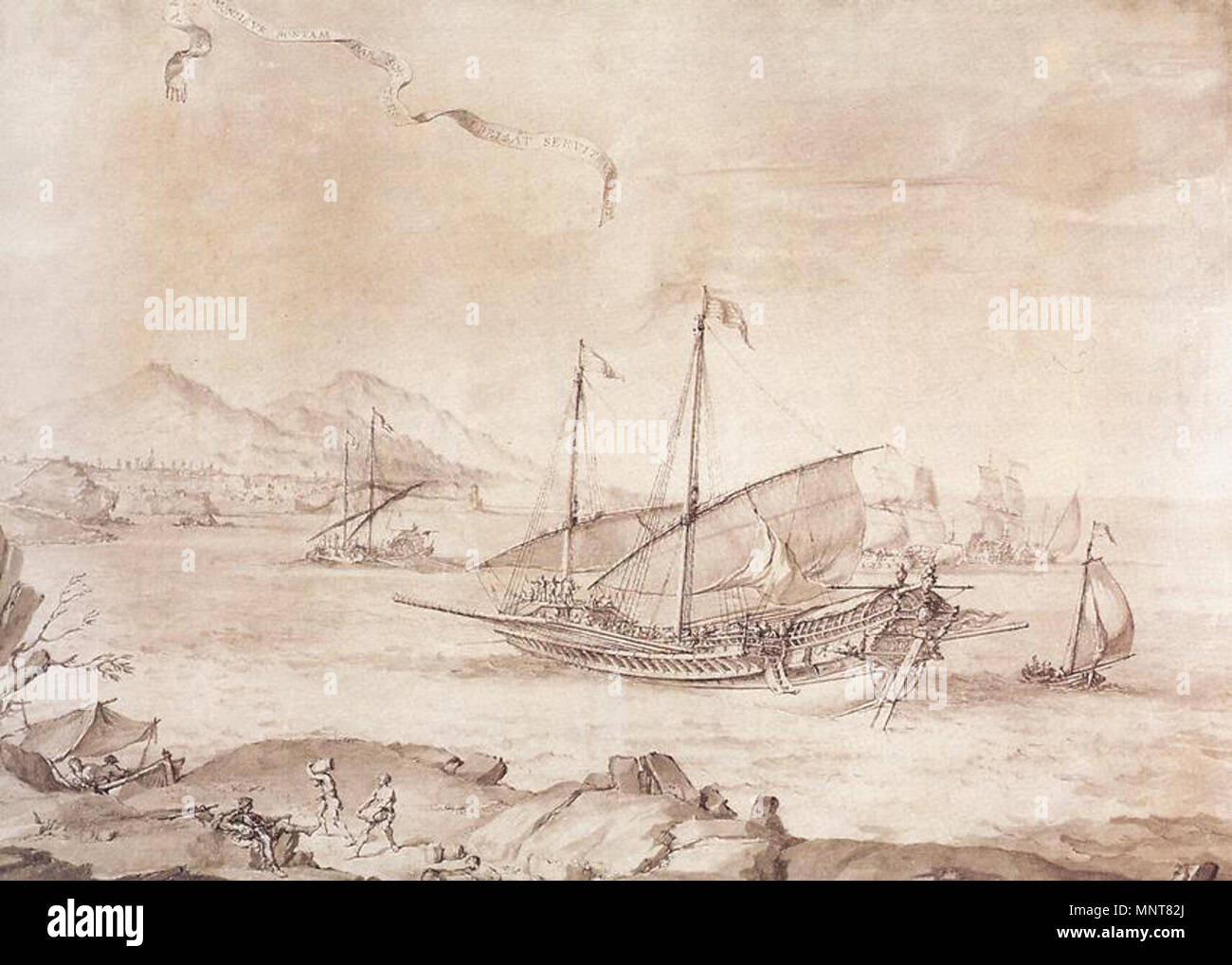 Ship at Marseille   between 1651 and 1654.   988 Pierre Puget - Ship at Marseille - WGA18475 - Stock Image