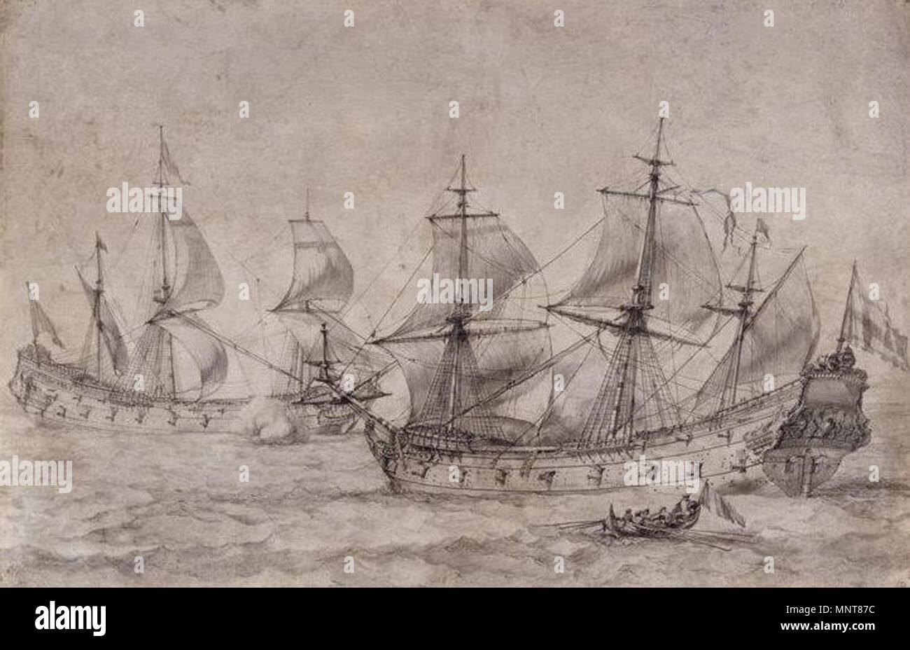 Français: Deux petits vaisseaux de moins de 30 canons.   17th century.   988 Pierre-Puget-deux-vaisseaux - Stock Image