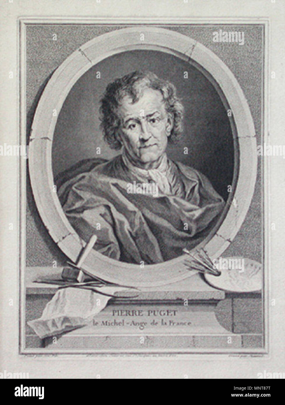 English: Portrait of Pierre Paul Puget (1620-1694), French sculptor   circa 1730.   989 PierrePuget - Stock Image