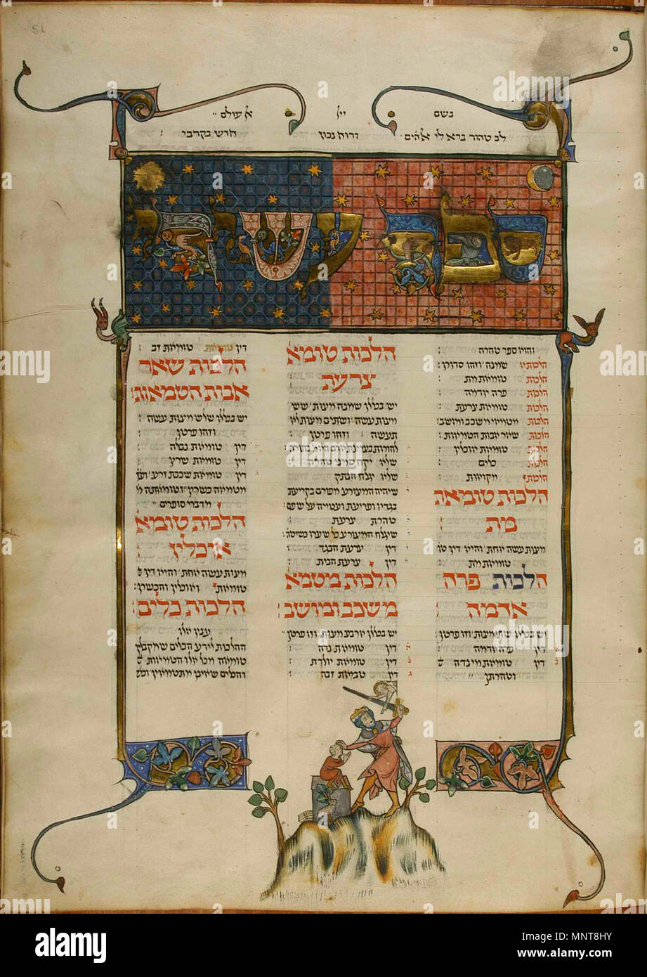. English: Kaufmann Mishneh Torah (MS A77, vol III, f.81r): The Binding of Isaac. The angel grabs Abraham's sword and prevents Abraham from sacrificing his son. The angel points at the substitute sacrifice: a small ram that stands beneath the altar, with his horns caught in a thicket. Isaac is portrayed as a small boy who sits on the altar with his hands tied and a pleading expression. 1296. Unknown 909 Ms77c-081r - Stock Image