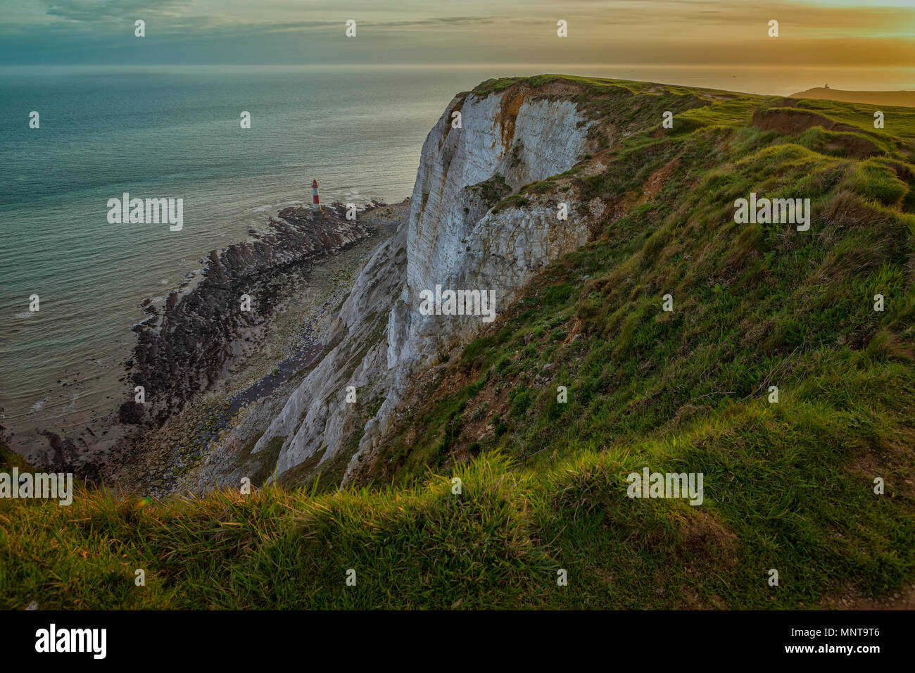 Beachy Head and the Lighthouse, South Downs National Park, England - Stock Image