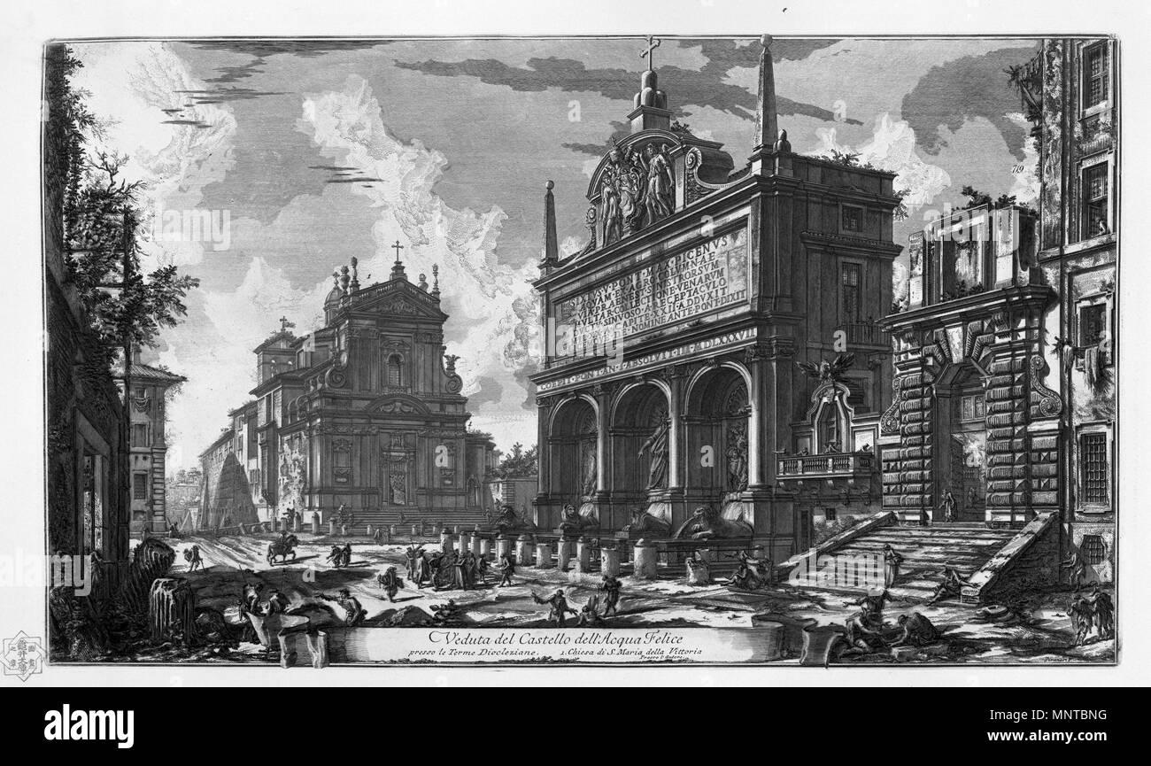 Italiano: Veduta del Castello dell' Acqua Felice presso le Terme Diocleziane. Chiesa di Santa Maria della Vittoria    1748-1774.   1001 Piranesi-16038 - Stock Image