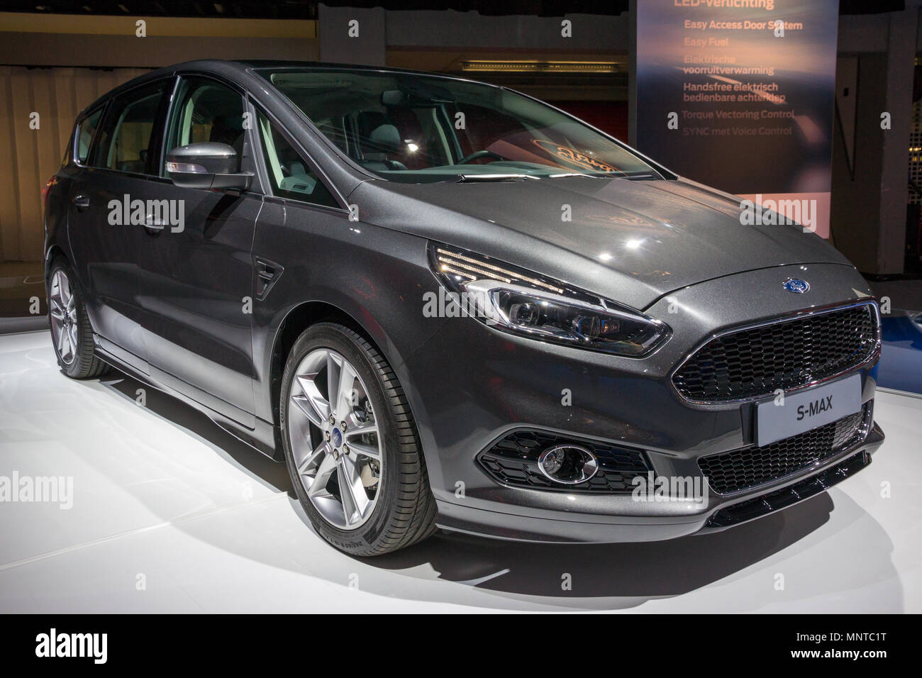 AMSTERDAM - APRIL 16, 2015: Ford S-MAX car showcased at the AutoRAI Motor Show. - Stock Image