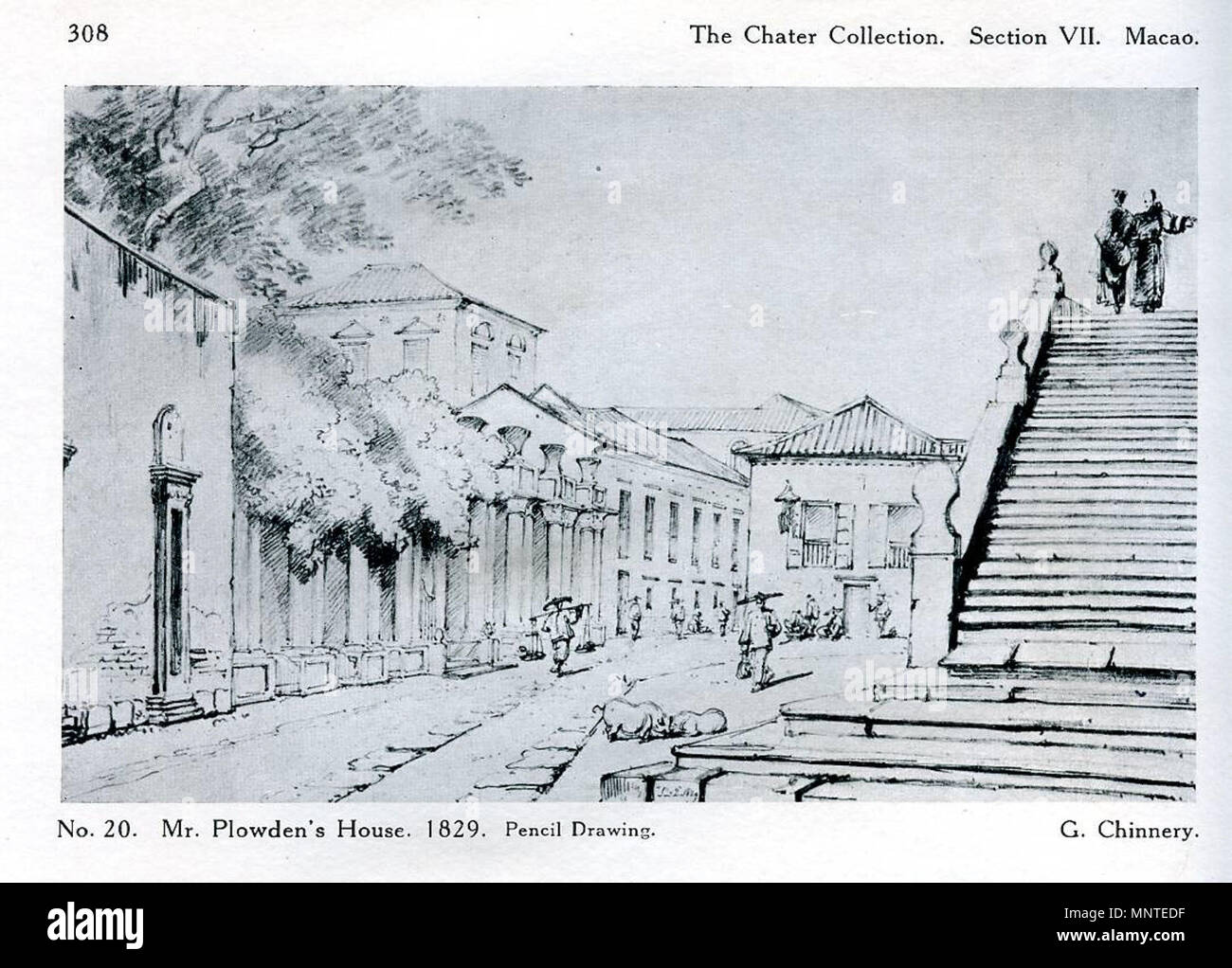 English pencil drawing of the street front of the east india companys house macao with steps of the church of st lorenzo