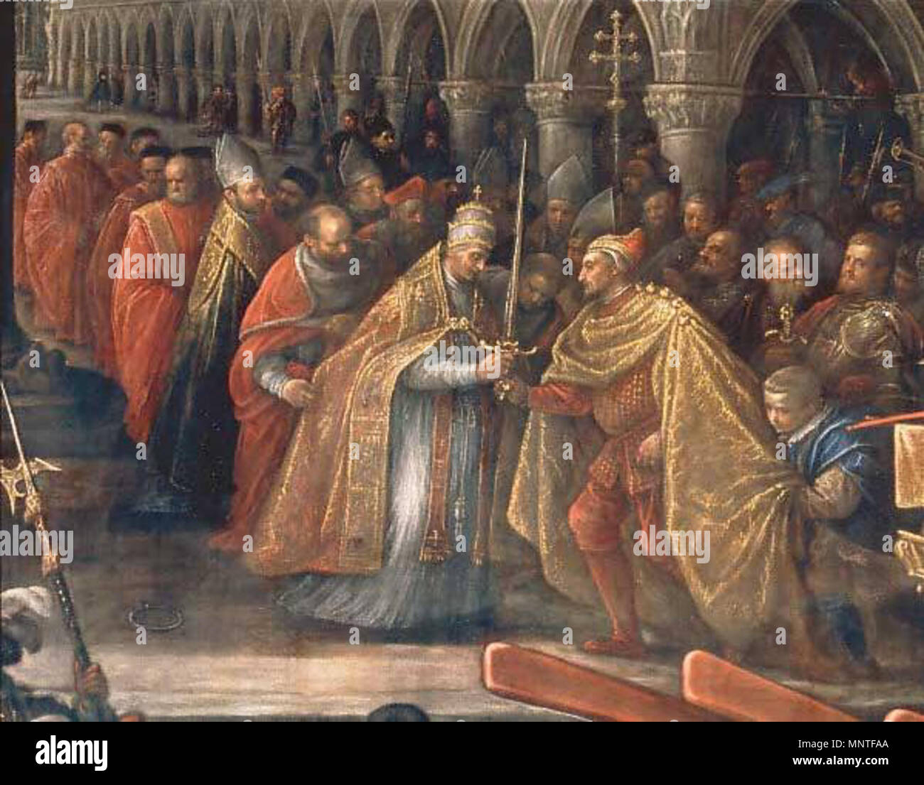 1592. Francesco Bassano the Younger (1549–1592) 1013 Pope giving a Blessed  Sword to a Doge of Venice