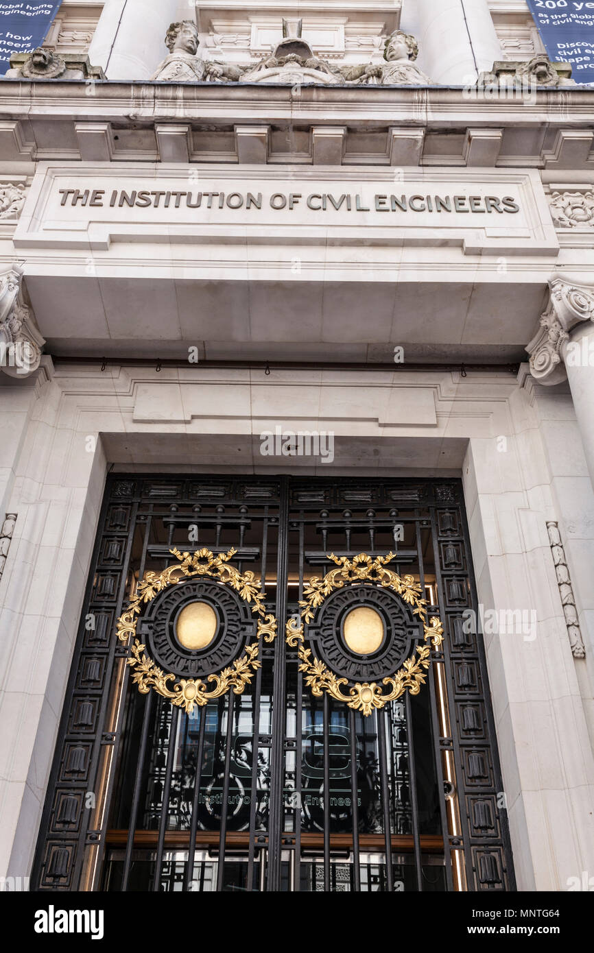 Entrance to The Institution of Civil Engineers (ICE) offices in London - Stock Image