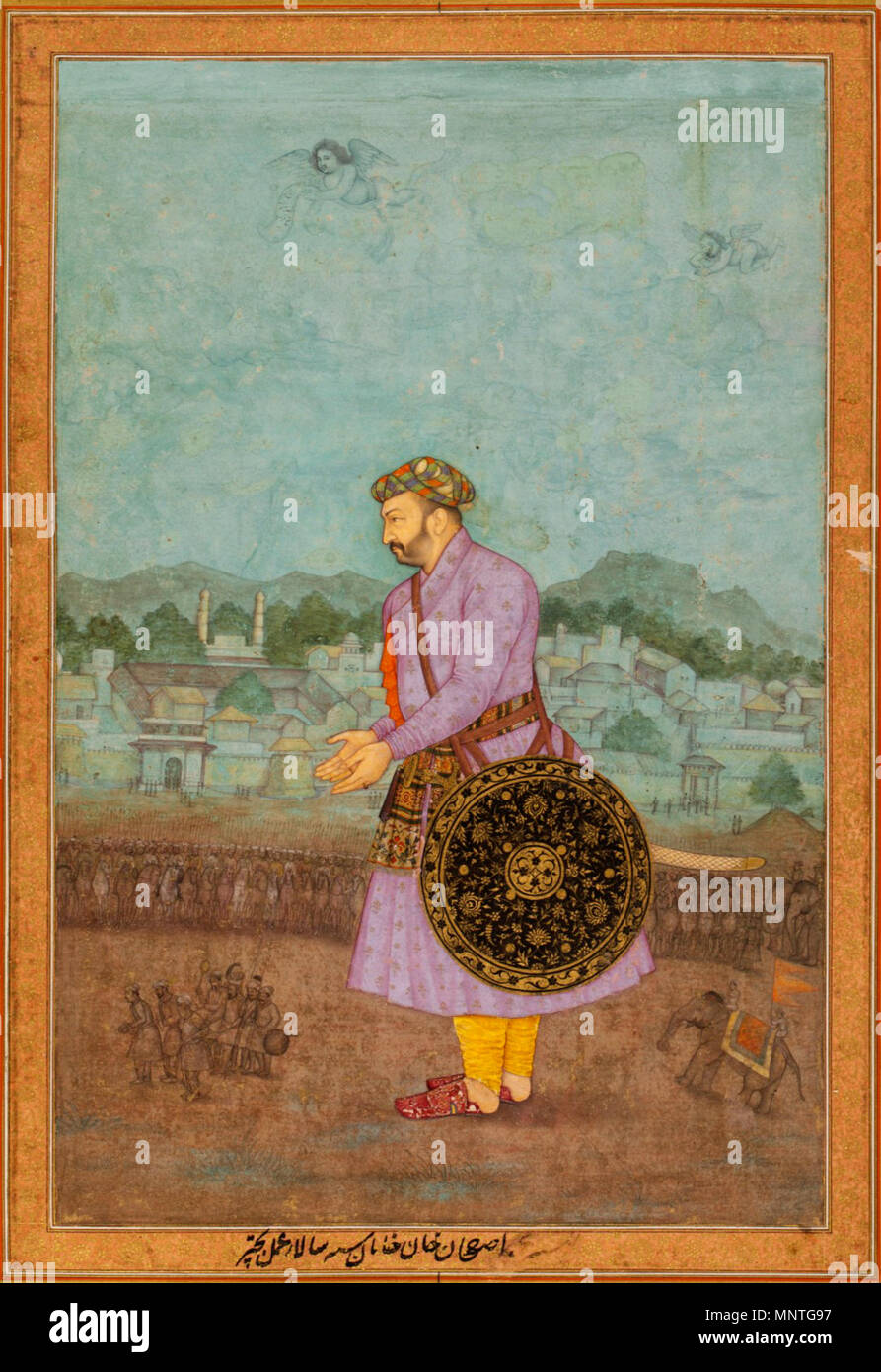 . English: Portrait of Asaf Khan Object Name:  Album leaf Date:  19th century Geography:  India Culture:  Islamic Dimensions:  14 1/4 x 9 3/4in. (36.2 x 24.8cm) Classification:  Codices Credit Line:  Gift of Alexander Smith Cochran, 1913 Accession Number:  13.228.52 This artwork is not on display . 19th century. Unknown 1018 Portrait of Asaf Khan - Stock Image