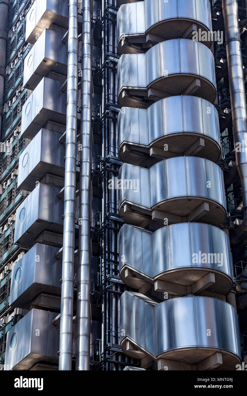 Detail of the Lloyds building in London - Stock Image