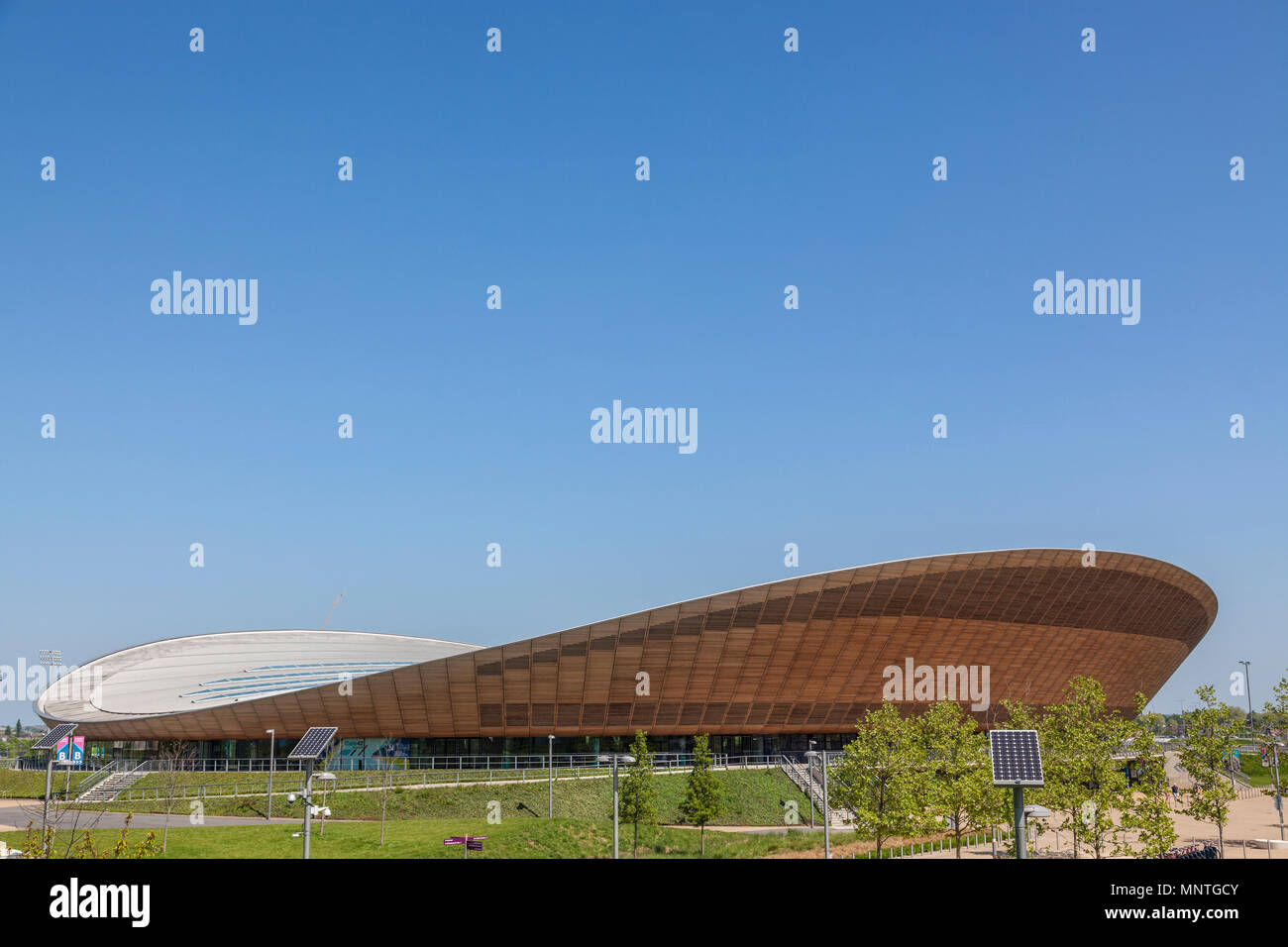 Lee Vally Velopark at the Queen Elizabeth Olympic park in London. Affectionately known as the Pringle - Stock Image