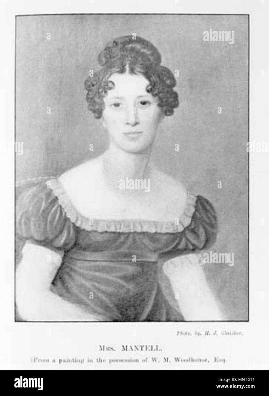 Portrait of Mary Ann Mantell, the daughter of G E Woodhouse and wife of Dr Gideon Mantell. She is commonly thought to have found the first Iguanodon tooth in 1822.    . English: Portrait of Mary Ann Mantell. Caption: 'Mrs. Mantell From a Painting in the Possession of W. M. Woodhouse, Esq.' . 19th century. uncredited 1020 Portrait of Mary Ann Mantell - Stock Image