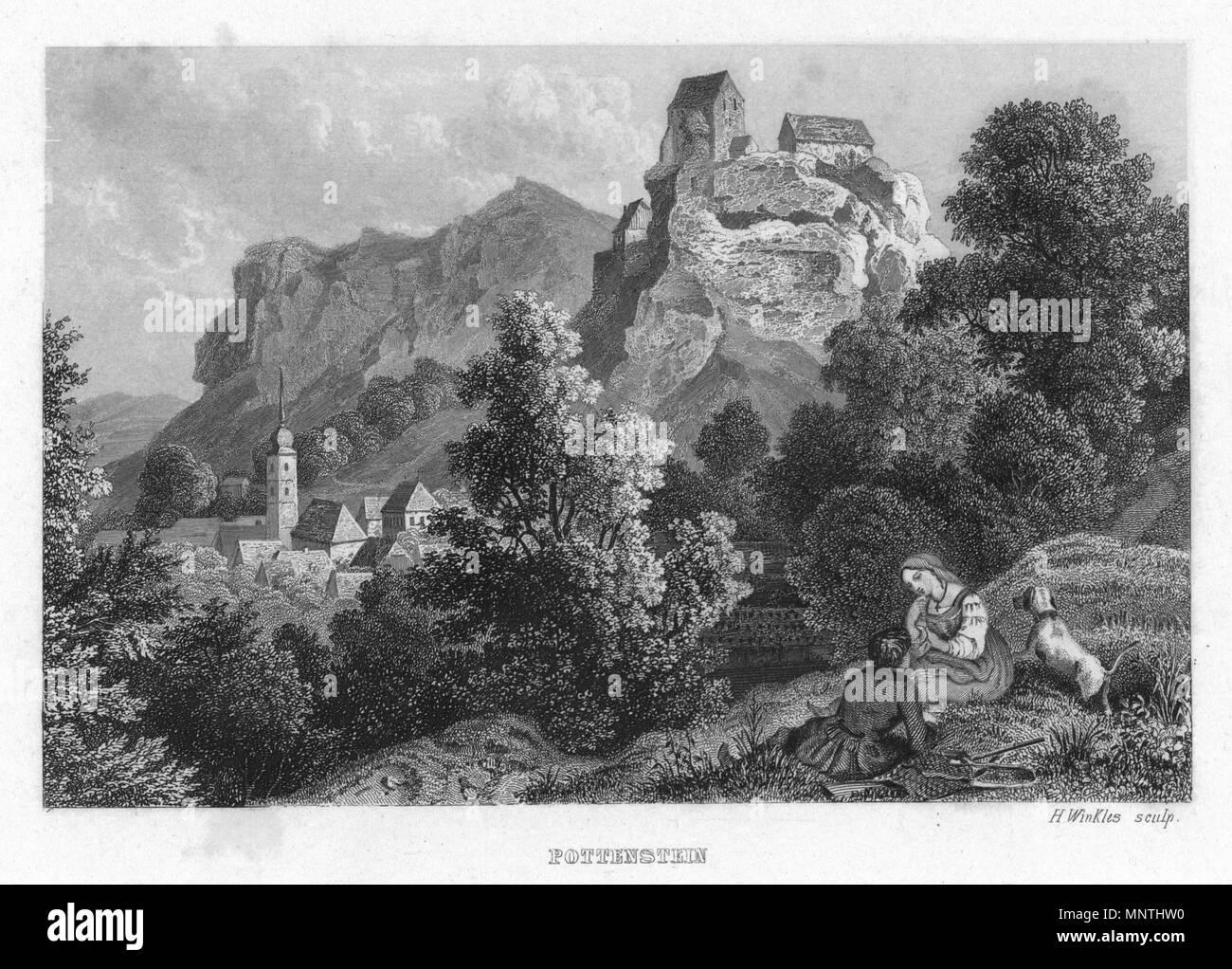 . Deutsch: Pottenstein in Album der fränkischen Schweiz. Neun Stahlstiche. 1840. 1840. H. Winkles 1025 Pottenstein 1840 002 - Stock Image