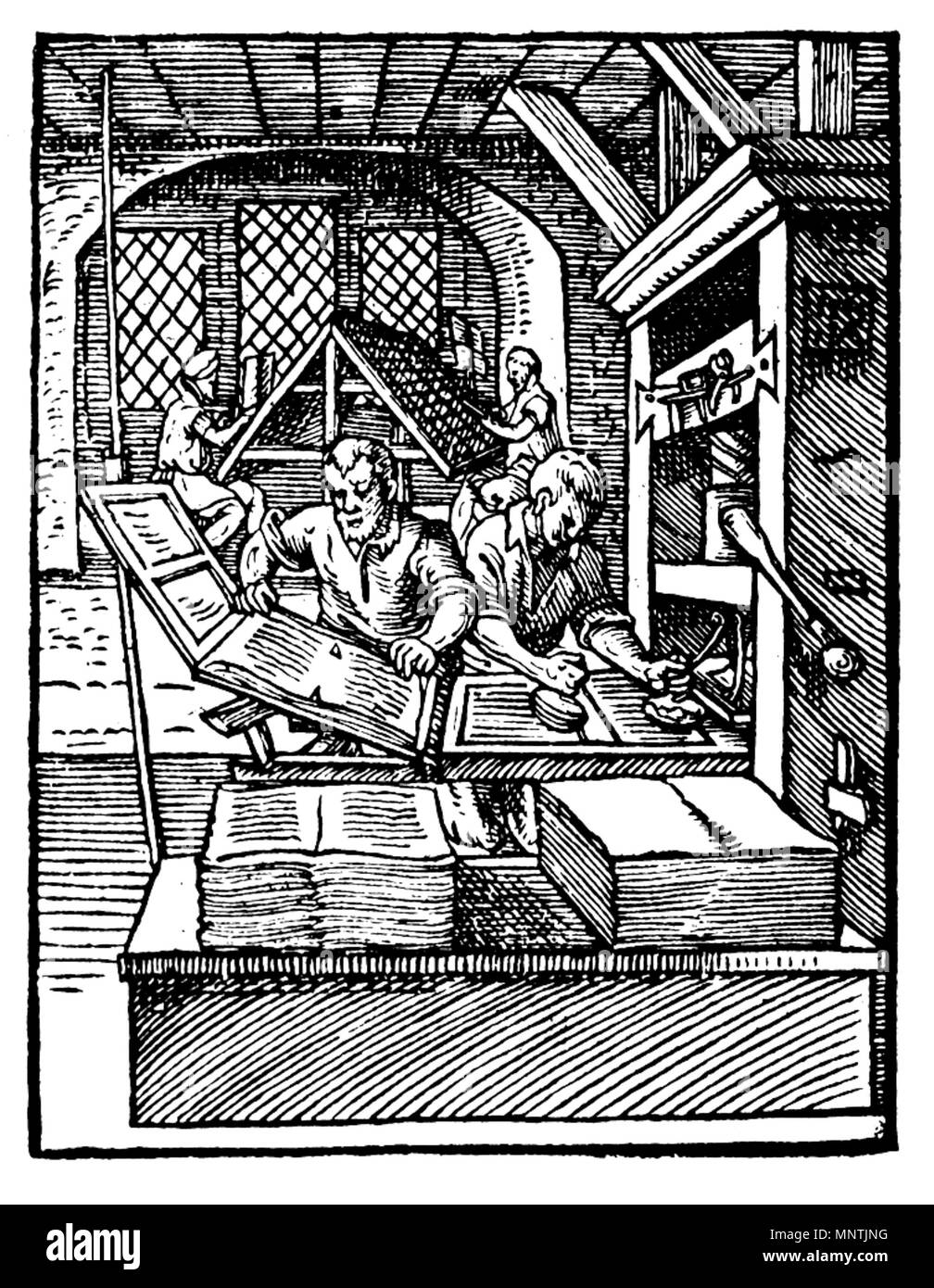 . At the left in the foreground, a 'puller' removes a printed sheet from the press. The 'beater' to his right is inking the forme. In the background, compositors are setting type. 1568.   Jost Amman (1539–1591)   Alternative names Jodocus Amman  Description Swiss engraver and printmaker  Date of birth/death 23 June 1539 17 March 1591  Location of birth/death Zürich Nuremberg  Work location Nuremberg  Authority control  : Q116240 VIAF:32038452 ISNI:0000 0001 0884 8733 ULAN:500115433 LCCN:n50021592 NLA:35006056 WorldCat 1029 Printer in 1568-ce - Stock Image