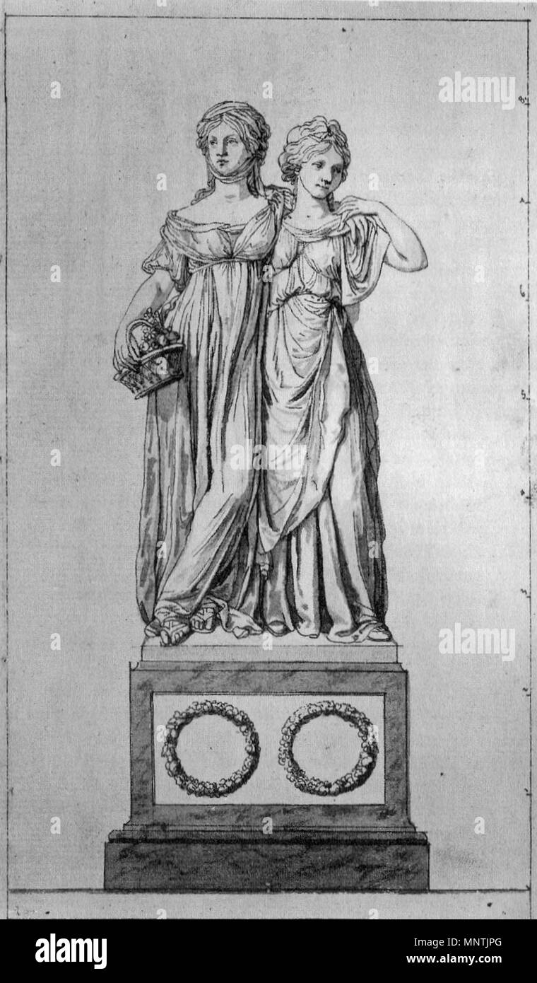 . English: The 'Prinzessinnengruppe' (Luise von Mecklenburg-Strelitz and her sister Friederike). Pen-and-ink drawing by Johann Gottfried Schadow, 1795. Deutsch: Die Prinzessinnengruppe (Luise von Mecklenburg-Strelitz und ihre Schwester Friederike). Federzeichnung von Johann Gottfried Schadow, 1795. 1795.   Johann Gottfried Schadow (1764–1850)   Description German sculptor, painter and graphic artist  Date of birth/death 20 May 1764 27 January 1850  Location of birth/death Berlin Berlin  Work location Berlin  Authority control  : Q51989 VIAF:27170885 ISNI:0000 0001 2125 3232 ULAN:50002033 Stock Photo