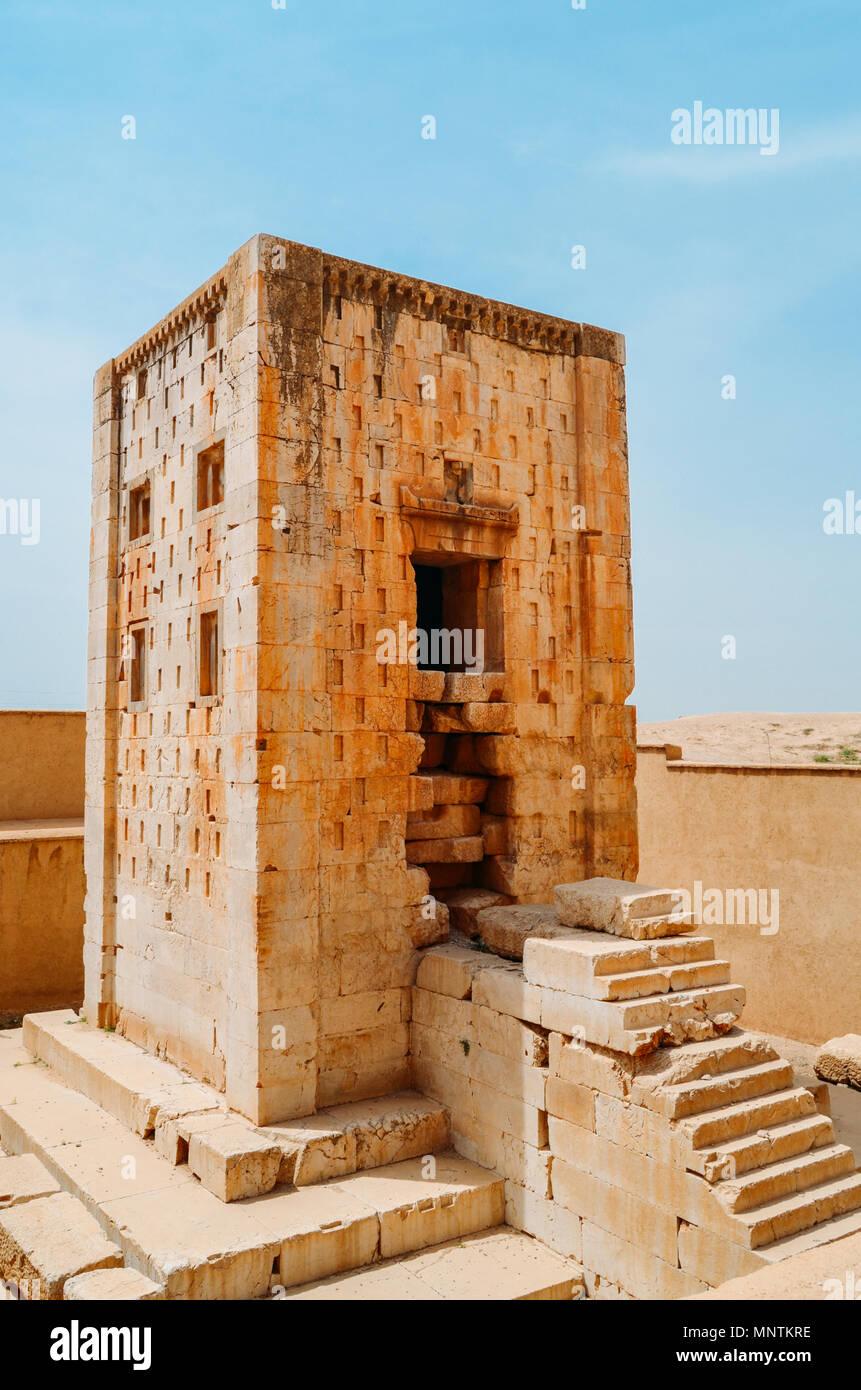 Ancient Persepolis Gate. Persepolis was the ceremonial capital of the Achaemenid Empire. - Stock Image