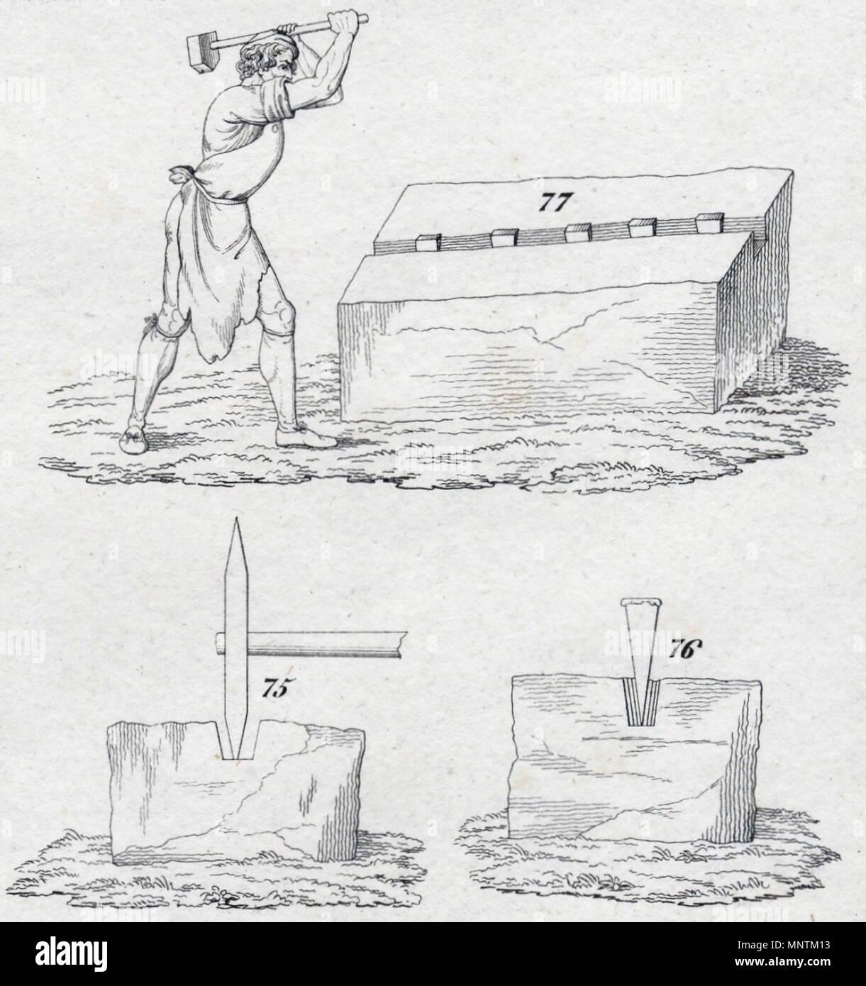 . English: quarryman at work (copper engraving 1833) Deutsch: Steinhauer bei der Arbeit (Kupferstich 1833) . 1833. Unknown 1034 Quarryman 1833 - Stock Image