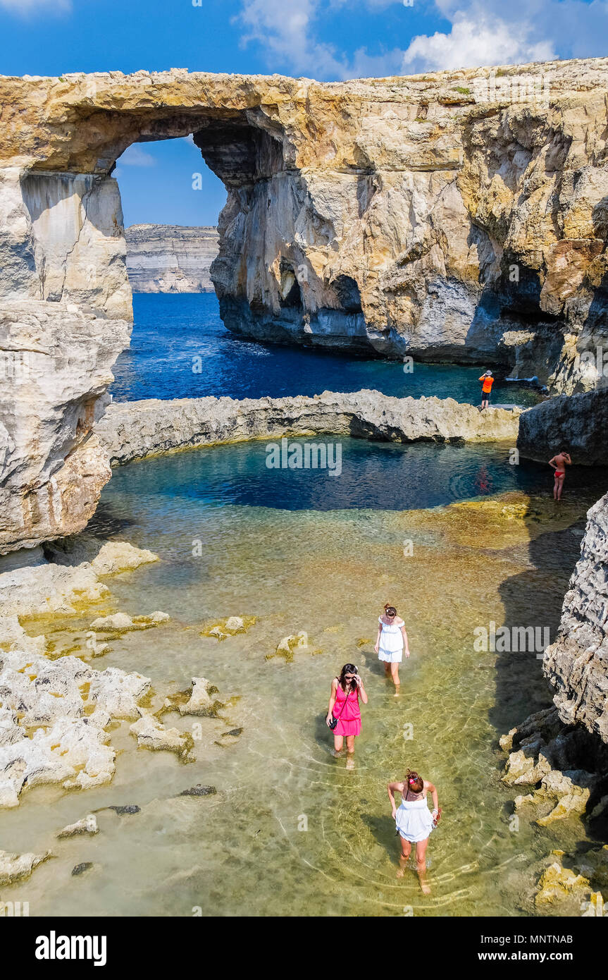 Azure Window, or Dwejra Window, and Blue Hole, Gozo, Malta, Mediterranean Sea, Atlantic Ocean - Stock Image