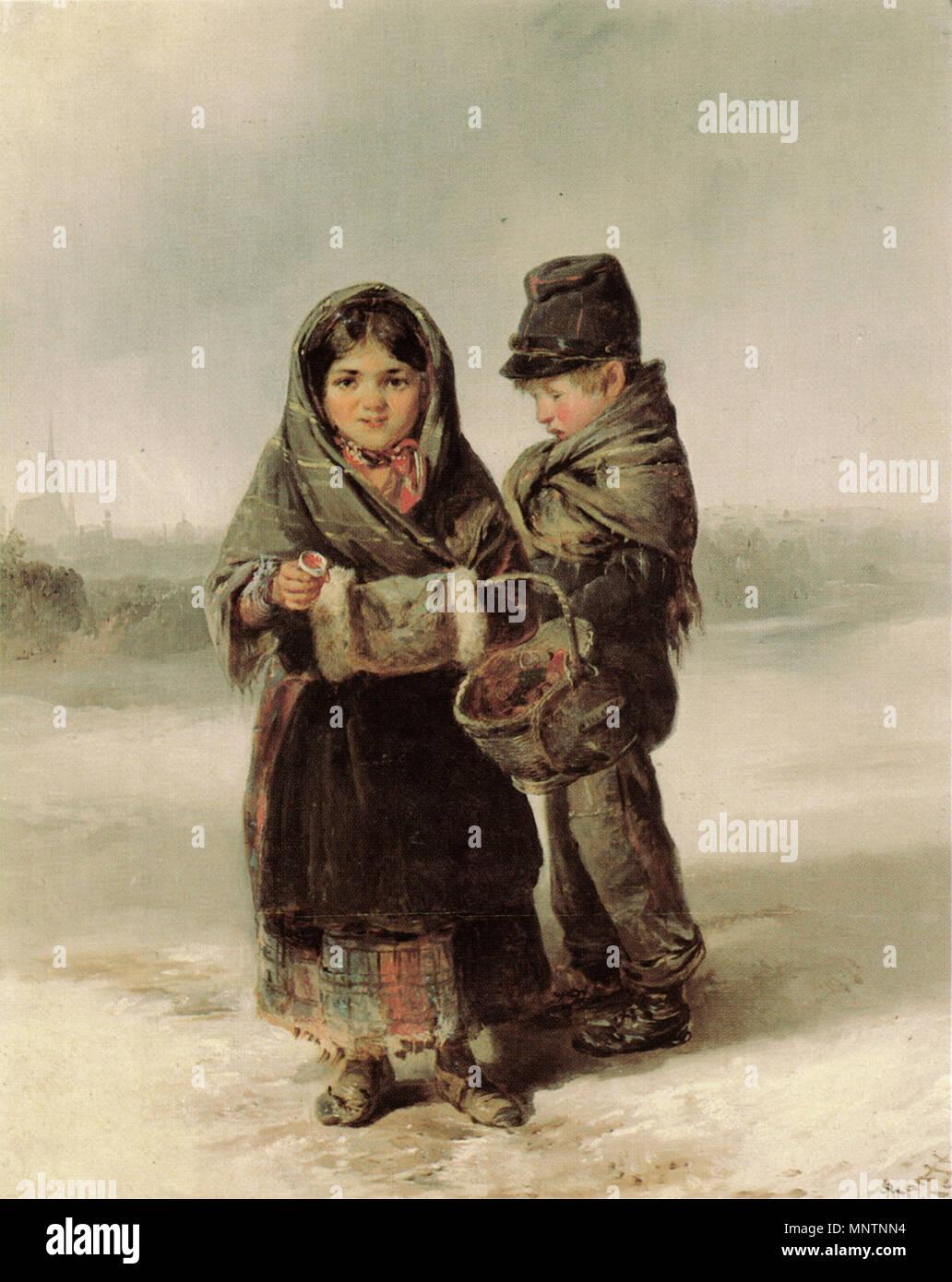 .  Deutsch: Bettelnde Kinder am Glacis. Öl auf Holz, 47 x 37,5 cm English: Begging children at the Glacis in Vienna. Oil on panel, 47 x 37.5 cm . 1852.   1042 Ranftl-Begging children, Vienna, 1852 Stock Photo