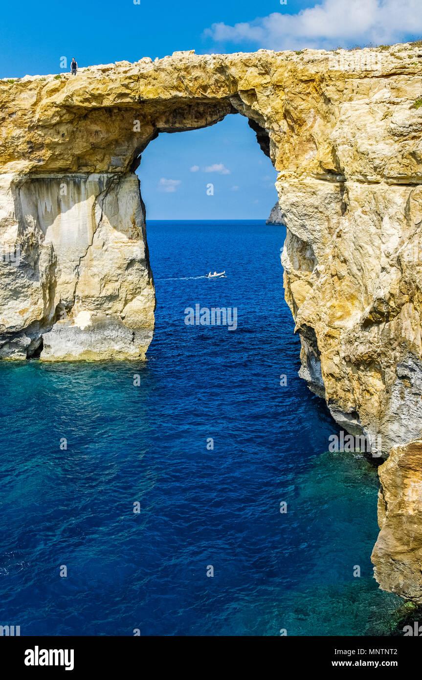 Azure Window, or Dwejra Window, Gozo, Malta, Mediterranean Sea, Atlantic Ocean - Stock Image