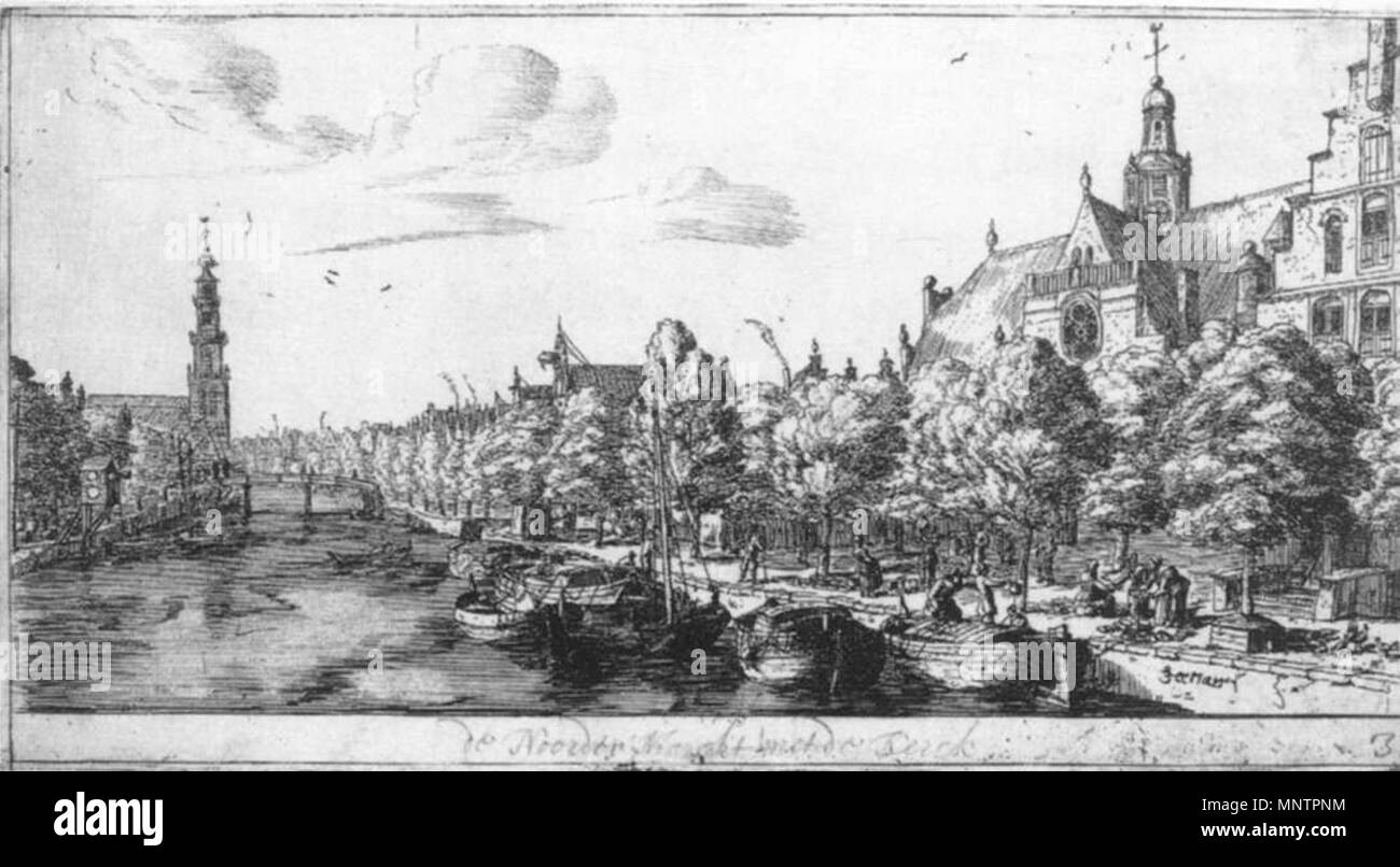 The Noordermarkt and the Noorderkerk. Alternative title(s): The Prinsengracht and the Noorderkerk at Amsterdam.[1] . Part of the series {{{name}}}. between 1657 and 1662.   1048 Reinier Nooms - The Prinsengracht and the Noorderkerk at Amsterdam - WGA16590 - Stock Image