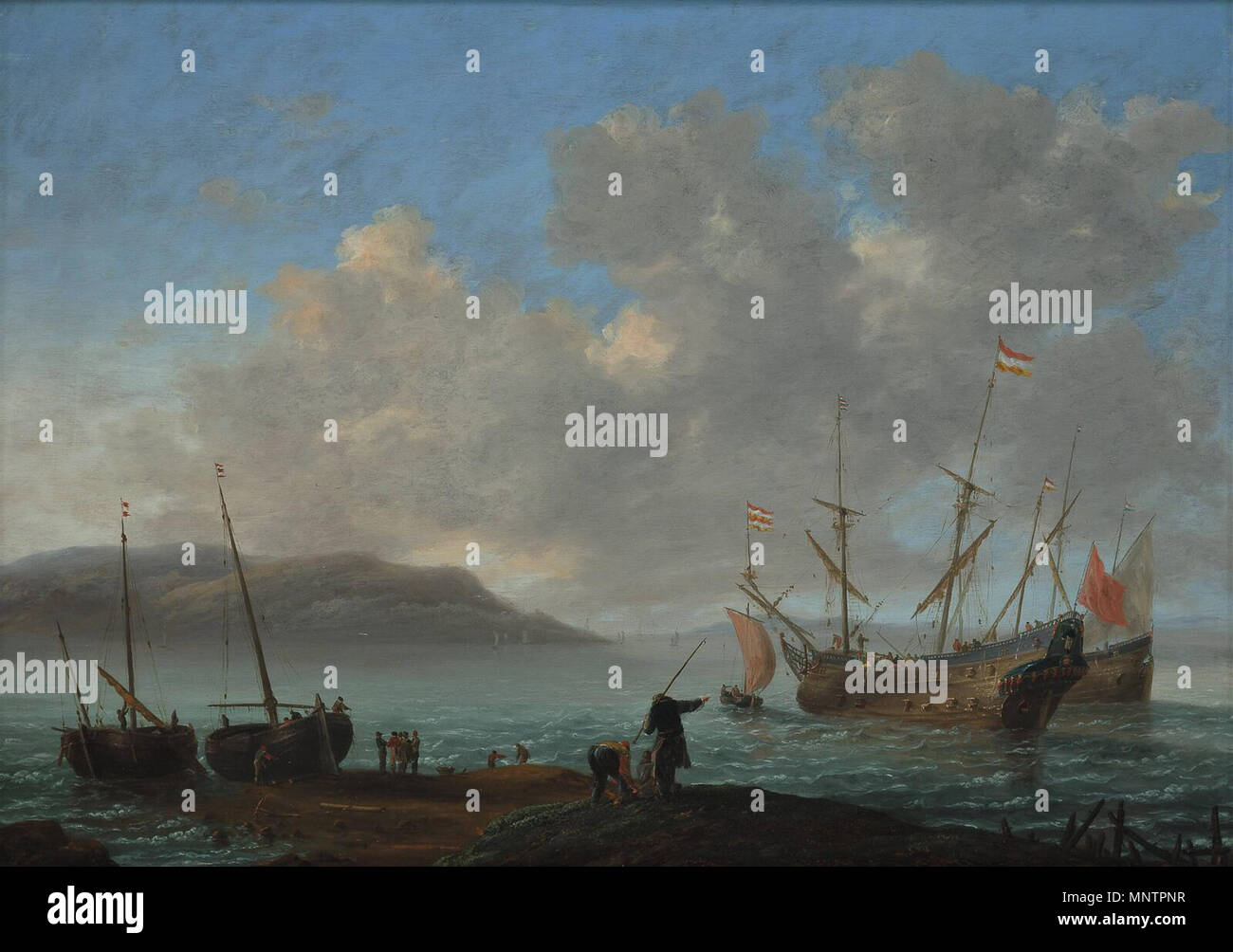 Bay with Sailing Ships   circa 1650-1664.   1048 Reinier Nooms 001 - Stock Image