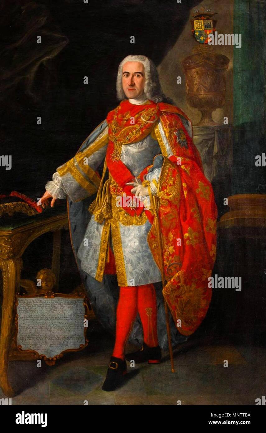 .  Español: Retrato de D. Diego de Madariaga Zea, 2º Marqués de Villa-Fuerte, Caballero de la Real Orden de San Genaro,gentilhombre de cámara con ejercicio del rey Carlos III, Teniente General de sus ejércitos e inspector general de su infantería. Participó en el sitio de Velletri en 1744 y en la guerra de Portugal en 1762. . 18th century.   1055 Retrato de D. Diego de Madariaga Zea - Stock Image