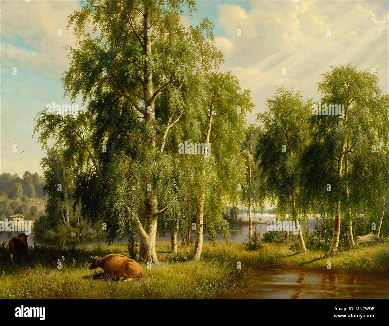 Deutsch: Sommerlandschaft English: Summer landscape Svenska: Sommarlandskap Suomi: Kesämaisema   1877.   1274 Wright Ferdinand Summer Landscape 1877 - Stock Image