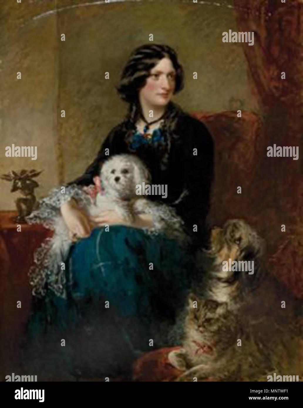 Français : 'Portrait de Lady Alfred Paget aves son chien maltais sur