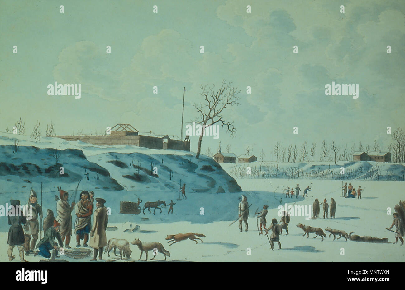 . English: Rindisbacher, Winter Fishing on the Ice of the Assynoibain and Red River, watercolour, 1821. (Note: Peter Rindisbacher's watercolour appears to show Fort Garry (Fort Gibraltar) and an early St. Boniface church at the forks of the frozen Red and Assiniboine rivers) . 1821. Peter Rindisbacher 1062 Rindisbacher fishing 1821 large (1) - Stock Image