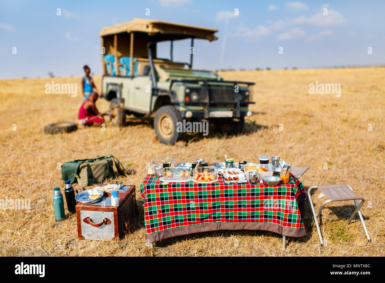 Luxury safari bush breakfast in Kenya Africa - Stock Image