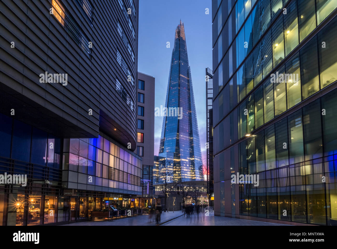 The Shard skyscraper and Modern Office Blocks, Southwark, London, England, UK - Stock Image