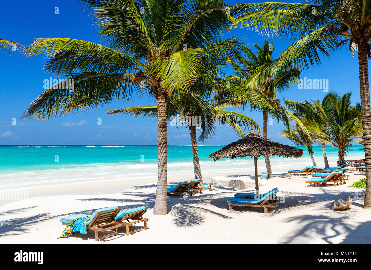fd1c61429dc19 Beach beds among palm trees at perfect tropical coast Stock Photo ...