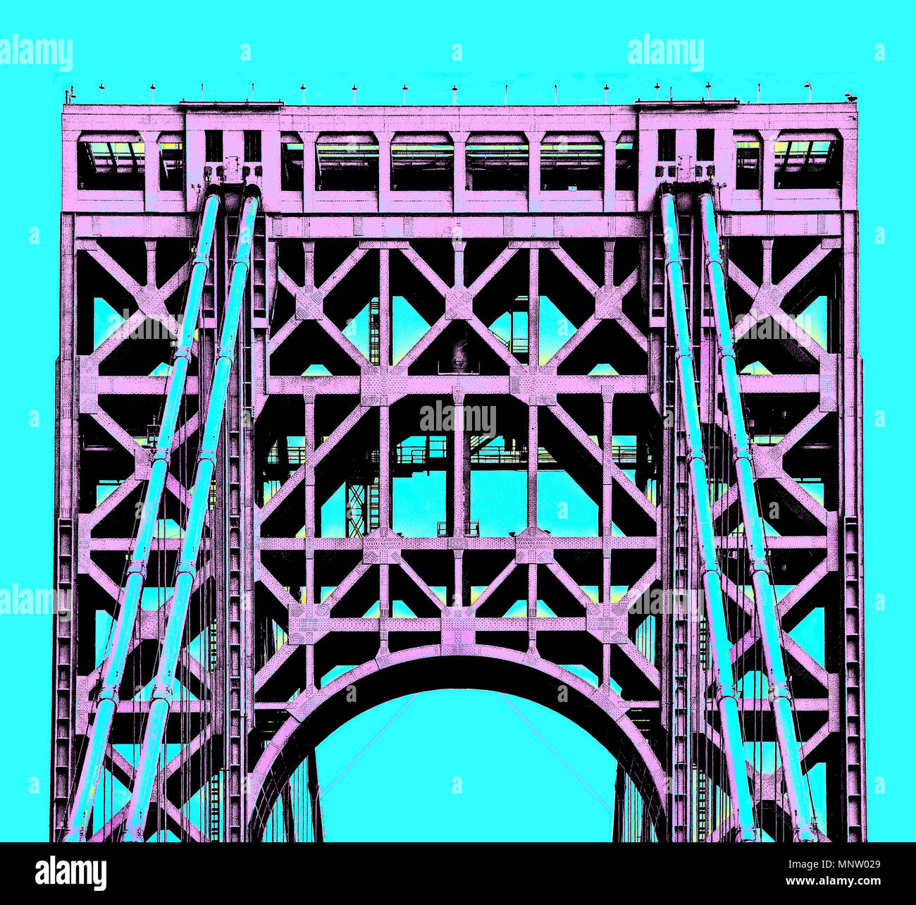 New York George Washington Bridge Posterized rendering. - Stock Image