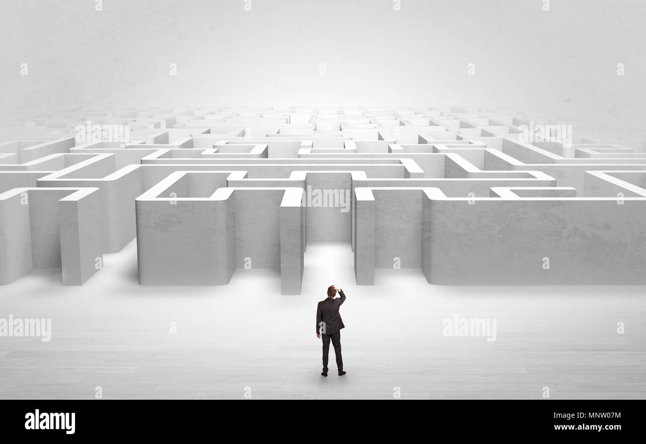 Businessman trying to decide which entrance to choose at the maze  - Stock Image