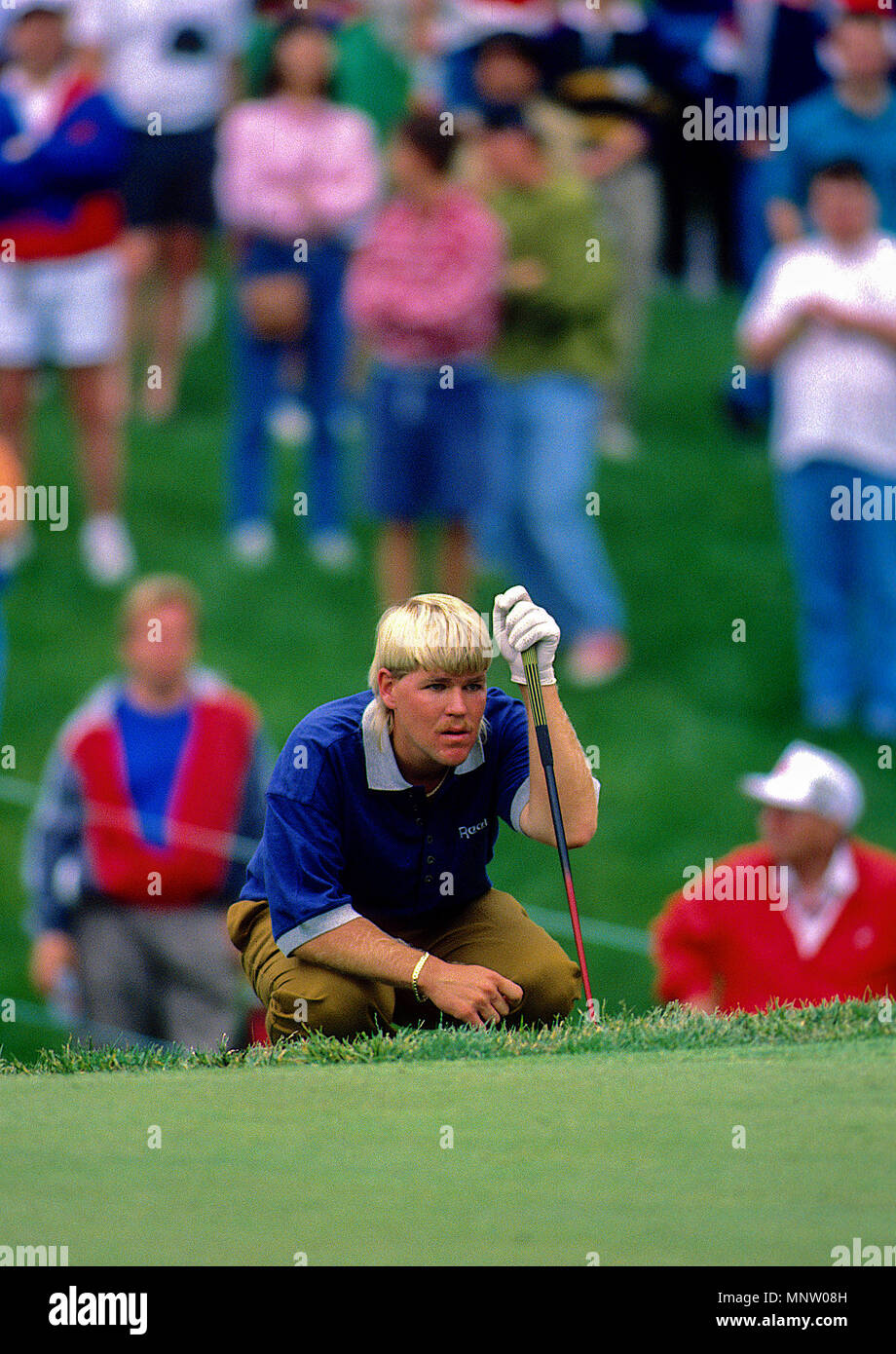Potomac. Maryland, USA, May 28, 1992 John Daly plays during the Kemper Open at the TPC at Avenel in Potomac Maryland. - Stock Image