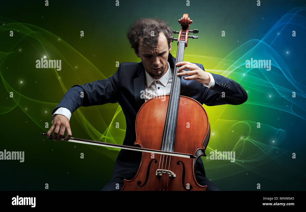 Serious Classical Cellist With Fabled Sparkling Wallpaper Stock