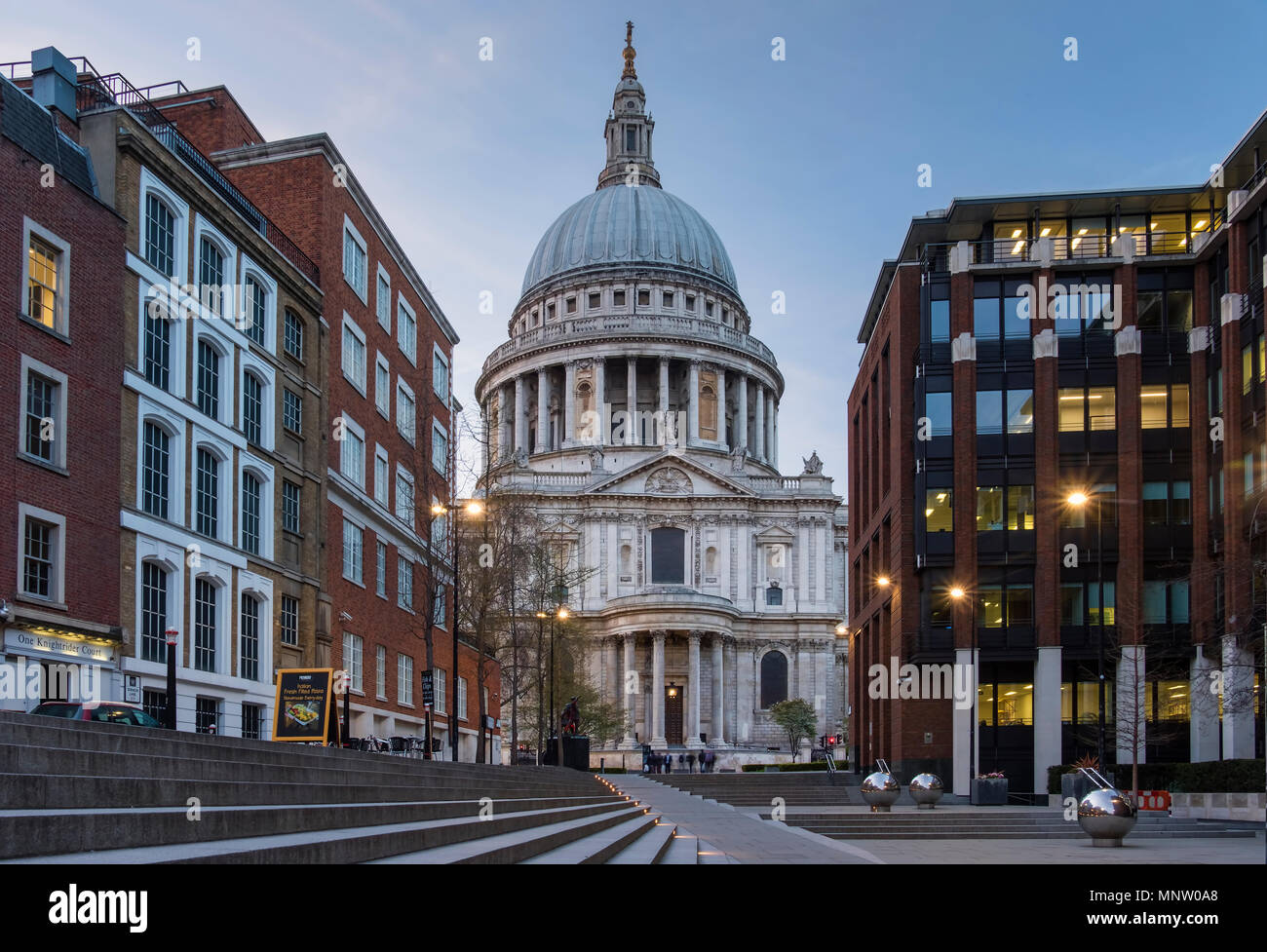 St Pauls Cathedral from Sermon Lane, London, England, UK - Stock Image