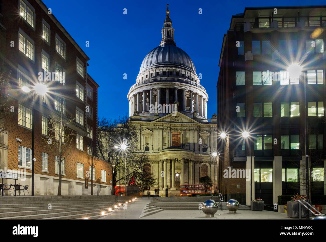 St Pauls Cathedral from Peters Hill at night, London, England, UK - Stock Image