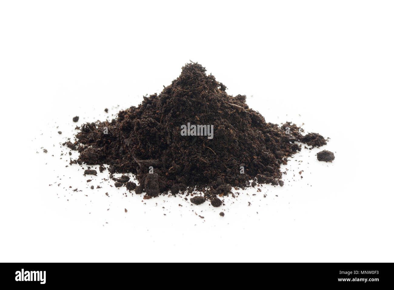Organic potting soil mix enriched with compost, used in horticulture and gardening. Closeup of an isolated cone pile on white studio background. - Stock Image