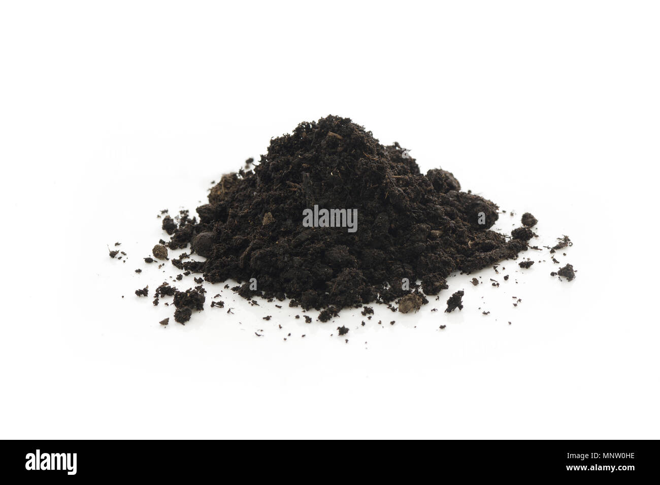 Compost, organic fertilizer, soil amendment, used in horticulture and gardening. Closeup of an isolated cone pile on white studio background. - Stock Image