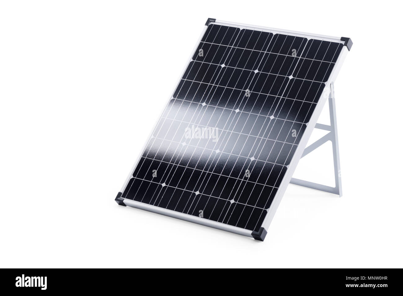 Portable 100 Watt solar panel with crystalline solar cells isolated on white background with a clipping path - Stock Image